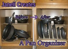 A Diy Custom Sized Rack For Organizing Pans In Kitchen Cabinet It S