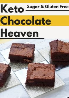 "Description: Anyone who will try this extremely good keto chocolate dessert, they will definitely call it ""Keto Chocolate Heaven"". Each piece of it is quite decadent and will satisfy all your chocolate cravings without any doubt! Sugar Free Chocolate, Mint Chocolate, Chocolate Desserts, Chocolate Brownies, Low Carb Desserts, Low Carb Recipes, Dessert Recipes, Diabetic Recipes, Dessert Ideas"