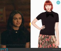Kate Spade Velvet Bow Sweater worn by Camila Mendes on Riverdale Veronica Lodge Outfits, Veronica Lodge Fashion, Fur Collar Coat, Fur Collars, Fashion Tv, Fashion Outfits, Camilla Mendes, Riverdale Fashion, Preppy Style
