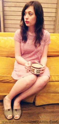 Pink vintage dress, coffee, and TOMS wedges