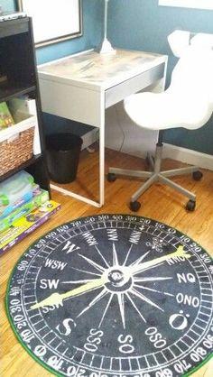 Ikea compass rug in Logan's airplane room
