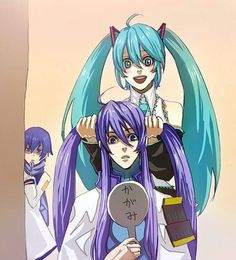 Kaito in background. Miku dressing up Gakupo's hair..lol! :D