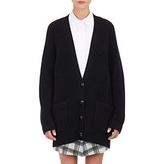 Proenza Schouler Oversized Chunky-Knit Cardigan ($1,150) ❤ liked on Polyvore featuring tops, cardigans, black, raglan top, oversized tops, black cardigan, black v neck cardigan and chunky oversized cardigan