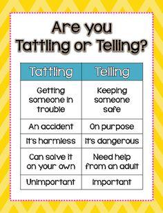 Tattling vs Telling Classroom Behavior, Classroom Rules, Future Classroom, Classroom Organization, Classroom Ideas, Behavior Management, Classroom Management, Class Management, Behavior Goals
