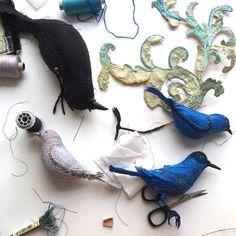 On my table. #blue#bluebird #art#love#nature#stitches…