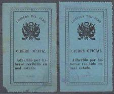 Peru 1911 Sellos Oficiales Sc Unlisted Drummond os11 Dos Sellos Tonos Mint Y Usados