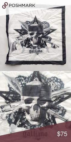 "NWOT Authentic John Galliano Skull Handkerchief BRAND NWOT authentic black & white John Galliano skull square handkerchief. Measurements approximately 16.5"" x 16.5"". 100% Cotton. Made in Italy. John Galliano Accessories Scarves & Wraps"