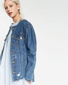 498f6cc91b75 ZARA - TRF - DENIM JACKET WITH PATCH AT THE BACK Denim Waistcoat