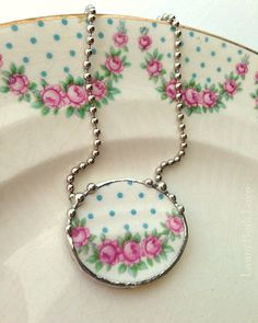 Broken China Jewelry necklace antique pink roses and blue polka dots eco friendly jewelry