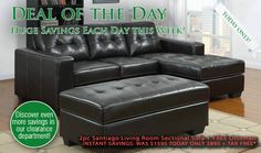Max Furniture Deal Of The Day 2pc Santiago Living Room Sectional Sofa + FREE Ottoman http://www.maxfurniture.com/detail-Living-Room-Seating-2pc-Santiago-Living-Room-Sectional-Sofa--FREE-Ottoman-188-42434.aspx