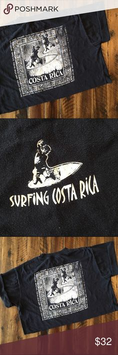 Costa Rica Surf Crop Perfectly worn-in lightly faded black crop with surf graphics. Perfect to throw on for a hike or a day at the beach!  BRAND: - MATERIAL: 50/50 YEAR/ERA: 80s LABEL SIZE: - BEST FIT: M  MEASUREMENTS: Chest 23 inches Length 17.5 inches    I do not model or trade, sorry!  Check out my closet for more vintage tees! Vintage Tops Crop Tops