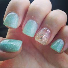 Aqua and gold sparkle gel nails, love❤️