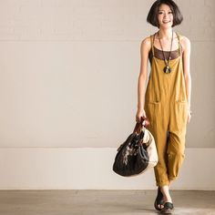 Yellow overall cotton linen women's trousers women's clothes