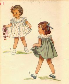 VTG 40s Simplicity 2823 Toddler Girls Adorable Yoked Dress Pattern Size 1