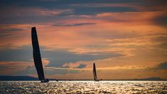 Burning sky on Lake Constance during the 2019 Rund um regatta Sailing Regatta, Classic Yachts, Image Archive, Outdoor Photos, Germany, Sky, America, Celestial, Sunset