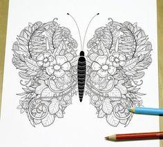 Elegant Butterfly Adult Coloring Page Print par DreamStateStudio