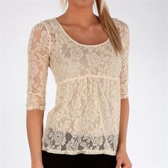 Love on a Hanger Juniors Lace Top with Empire Waist #VonMaur #SpringFashion #Nude