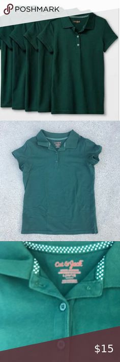 New Girls Green Scallop School Polo Shirt 4 Pack Unique