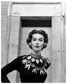 Model is wearing replicas of a variety of ancient Sumerian jewelry offered for sale by New York's Metropolitan Museum, photo by Nina Leen, 1952