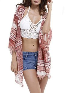 Women's Floral Print Chiffon Beachwear Bikini Cover Up