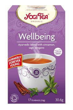 YOGI TEA® Wellbeing med aromatisk salvia och värmande kanel påminner oss om den gamla Medelhavstraditionen att dricka salviate. Citrongräs, kardemumma och lakrits gör detta unika te ännu bättre. Att må bra och hitta tid för sig själv är en konst. Koppla av och njut en kopp YOGI TEA® Wellbeing och kom ihåg att vara snäll mot dig själv.  The essence of this tea is: 'Find time for yourself'.