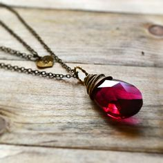 Ruby Red Crystal Necklace Double Chain Personalized Necklace Swarovski Crystal Raspberry Pink Necklace Initial Charm Necklace Handstamped