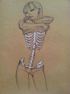 skeleton girl illustration (no source) I'm not morbid, but this would be great next to a vintage Red Cross flag. beautiful piece of art.
