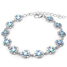 """Blue Opal Cross Bracelet Solid 925 Sterling Silver Lab Blue Opal Crosses Bracelet 9"""" Religious Jewelry Cross"""