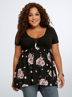 Plus Size Floral Babydoll Top