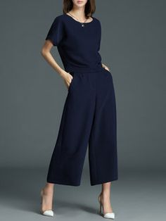 370c924561fb Discover unique designers fashion at StyleWe.com. See more. Navy Blue Work  Two Piece Polyester Jumpsuit Long Sleeve Midi Dress