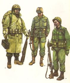 1.- Rifleman,Korea , Winter 1950-53.  2.- Officer, Korea, Spring 1951. 3.- Automatic Rifleman, Korea,1953. Military Photos, Military Art, Military History, Us Army Uniforms, Military Decorations, Vietnam, Us Marine Corps, Barcelona, Korean War
