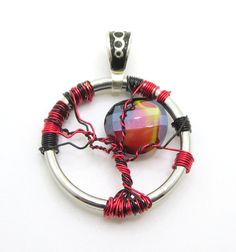 Red Sun Pendant Wire Wrapped Pendant  Gift ideas by TheCraftWytch