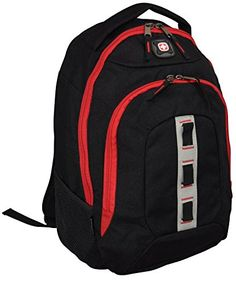b93cbd2b07 SwissGear Wenger The Complex Inch Padded Laptop Computer Backpack Black Red