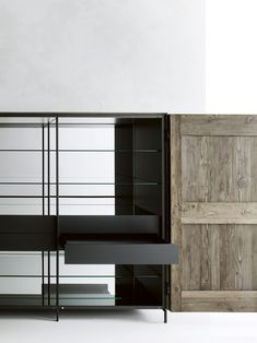 Solid #wood highboard with doors MADIA by Boffi