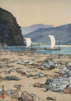 Tenryū River, 1942 - by Yoshida Toshi Japanese Art Prints, Japanese Artwork, Japanese Painting, Chinese Painting, Art Occidental, Japanese Woodcut, Hokusai, Art Asiatique, Art Japonais