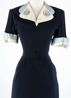 1940s Blue Rhinestone Cocktail Dress. Blue rayon, White & sky blue accents, Rhinestone buttons, side zip, Hip pockets, Matching belt