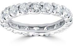 Pompeii3 3 1/2ct Diamond Eternity Ring U Prongs 14k White Gold. #DiamondEternityRings