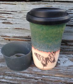 Ceramic Travel Mug, Ceramic Butterfly Travel Mug, Ceramic Coffee Travel Mug, Travel Mug, Handmade by RuthiesPottery by RuthiesPottery on Etsy