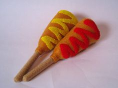 Felt food corn dog set ketchup and mustard - eco friendly children's pretend play food for toy kitchen