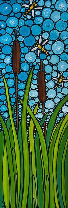Dragonfly Pond Painting  - Dragonfly Pond Fine Art Print