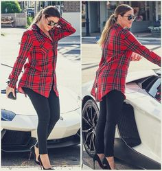 Khloe Kardashian looks casual in heels, check shirt, black skinny pants and low ponytail