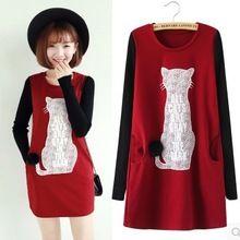2015 moda carácter gato dentro de lana gruesa caliente del invierno vestido de otoño, algodón que hace punto manga larga mujer varios vestidos(China (Mainland))