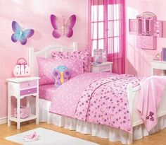 butterfly pink theme girls bedroom