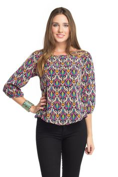 Damask Pearl Back Button Blouse