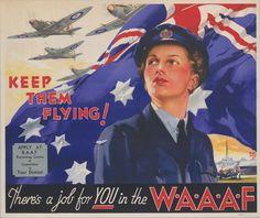 Australian Vintage, Australian Flags, Australian Air, Ww2 Propaganda Posters, Poster Ads, Military History, Military Women, World War Ii, Vintage Posters