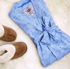 So cozy and cute! Ugg robe & slippers :)