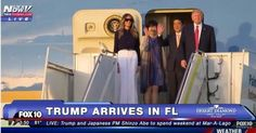 Video & Photos: President Donald Trump, Japanese PM Shinzo Abe Arrive in Florida for Mar-A-Lago Weekend