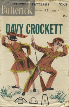 Vintage Sewing Pattern | Boys' and Girls' Davy Crockett Frontier Outfit | Butterick 7569 | Year 1956 | Sizes 4 Breast 23""