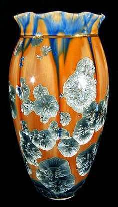 William Melstrom, crystalline galzed porcelian vase with gold rim and collar