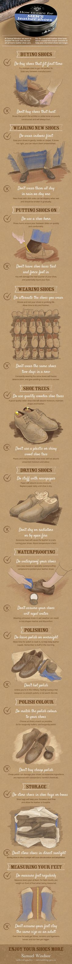 """Taking good care of your leather shoes will help them last longer, look great and keep your feet happy. Adhere to the dos and don'ts in this leather shoe care guide, and we promise you will enjoy your shoes more."""
